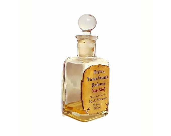 Antique Edwardian Perfume 1914 Rose Leaf by RA Meyer Pure Parfum St Louis Vintage Bottle