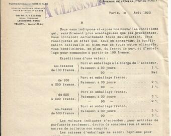 Antique 1923 Gelle Freres Lecaron Fils Signature Parfums Perfume Merchandise Letter Ancien Lettre Parfumerie Ephemera #5