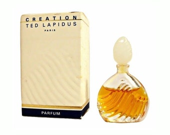 Vintage 1980s Creation by Ted Lapidus 0.13 oz Pure Parfum Splash Mini Perfume and Box