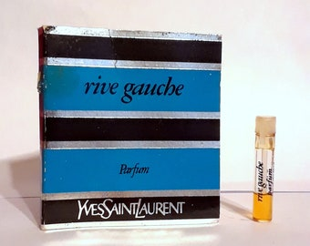 Vintage 1980s Rive Gauche by Yves Saint Laurent 0.02 oz Pure Parfum Sample Vial on Card PERFUME