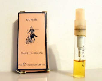 Vintage 1990s Eau Rosee by Mariella Burani 0.068 oz Spray Sample Vial on Card PERFUME