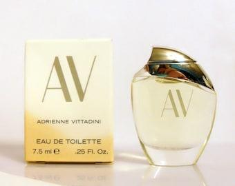 Vintage 1990s AV by Adrienne Vittadini 0.25 oz Eau de Toilette Miniature Mini in Box PERFUME