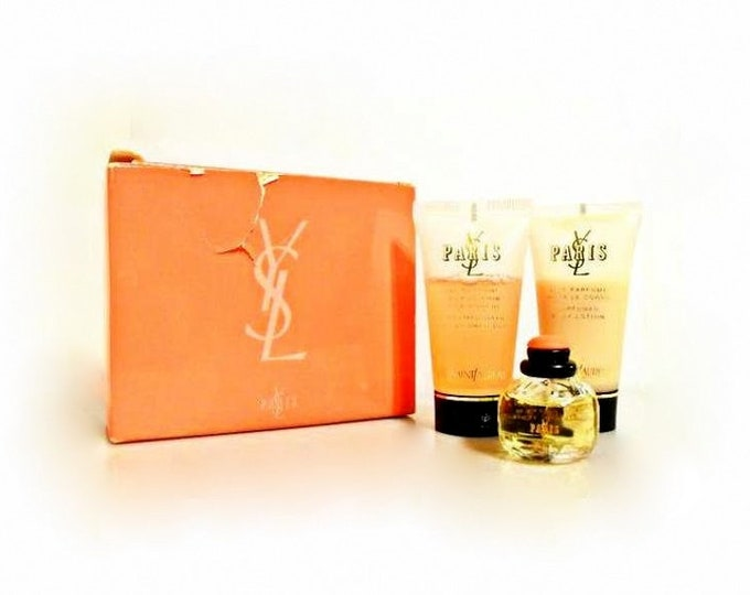 Vintage 1990s Paris by Yves Saint Laurent 0.20 oz EDT Miniature, 1 oz Body Lotion and 1 oz Body Wash Travel Set and Box PERFUME