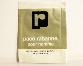 Vintage 1970s Paco Rabanne Pour Homme by Paco Rabanne Cologne Towelette Sample Packet