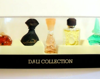 Vintage 1990s Salvador Dali Five Piece Miniature Perfume and Cologne Gift Set