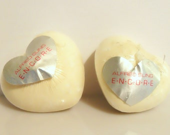 Pair Vintage 1990s Encore by Alfred Sung Mini Heart Shaped Perfumed Guest Soaps