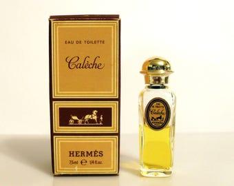 Vintage Perfume 1960s Caleche by Hermes 0.25 oz Eau de Toilette Mini Miniature Splash in Box Original Formula