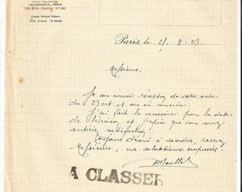 Antique 1923 Gelle Freres Maurice Boullet Signature Parfums Perfume Merchandise Letter Ancien Lettre Parfumerie Ephemera #3