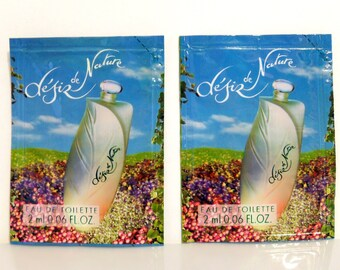 Pair Vintage 1990s Desir de Nature by Yves Rocher 0.06 oz Eau de Toilette Splash Sample Packets PERFUME