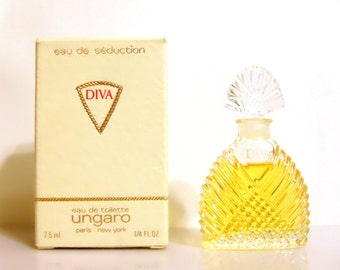 Vintage 1980s Diva by Ungaro Eau de Seduction 0.25 oz Eau de Toilette Miniature Mini Bottle with Box PERFUME