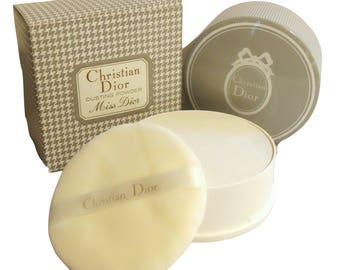 Vintage 1960s Miss Dior by Christian Dior 8 oz Perfumed After Bath Dusting Powder in Box NEVER USED