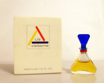 Vintage 1980s Liz Claiborne by Liz Claiborne 0.125 oz Parfum Splash Mini Miniature and Box PERFUME