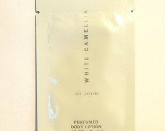Vintage 1990s St. John White Camellia 0.16 oz Perfumed Body Lotion Sample Packet
