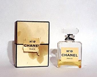 Vintage 1960s Chanel No. 19 by Chanel 0.25 oz Parfume Extrait Splash Mini Perfume Bottle and Box