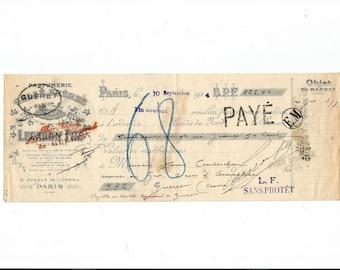 Antique 1924 Gelle Freres Parfums Perfume Merchandise Receipt Ancien Acquit Parfumerie Ephemera #6