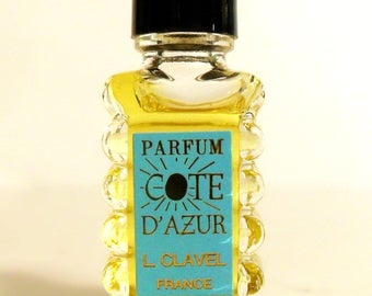 Vintage 1950s Parfum Cote d'Azur by L Clavel Mini Miniature Perfume