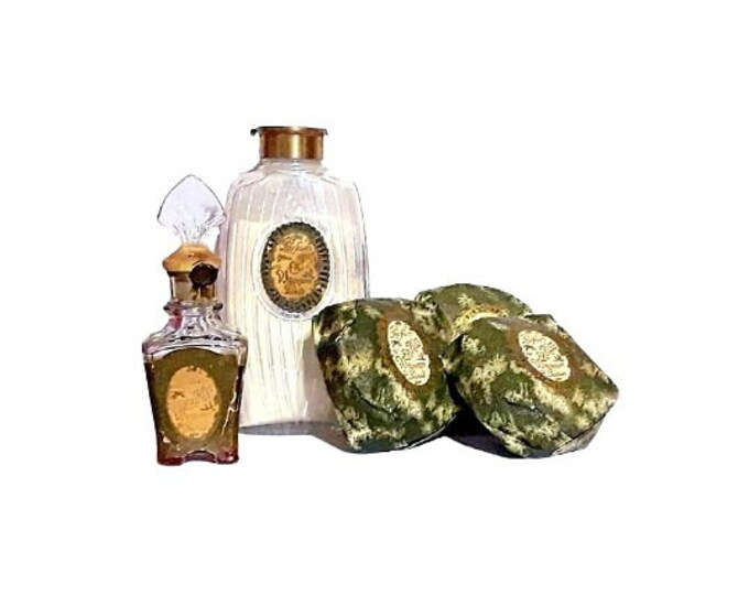 Antique Djer Kiss Perfume by Kerkoff Vintage Parfum, Talcum Powder, Soap 1920s Trio Set