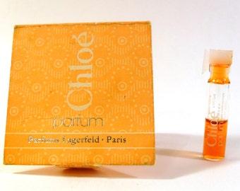 Vintage 1970s Chloe by Parfums Lagerfeld 0.03 oz Parfum Splash Sample Vial PERFUME