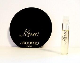 Vintage 1980s Silences by Jacomo 0.06 oz Parfum de Toilette Sample Vial on Card PERFUME