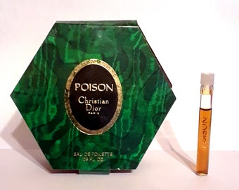 Vintage 1980s Poison by Christian Dior 0.05 Eau de Toilette Sample Vial on Card PERFUME