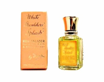 Vintage 1950s White Shoulders by Evyan 0.5 oz (15ml) Mini Miniature After Bath Revitalizer Cologne Splash and Box PERFUME