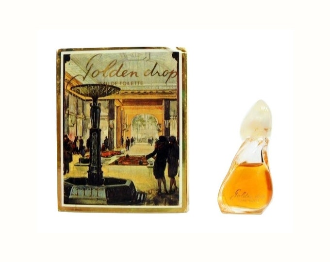 Vintage 1980s Golden Drop by Reichenbach 0.11 oz Eau de Toilette Miniature Mini Bottle and Box PERFUME