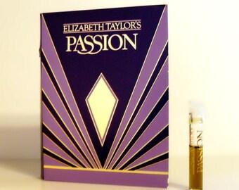 Vintage 1980s Passion by Elizabeth Taylor 0.03 oz Eau de Toilette Sample Vial on Card PERFUME
