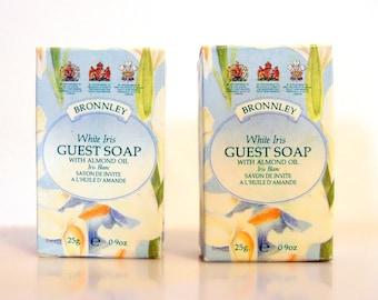 Pair Vintage 1990s Bronnley White Iris Almond Oil Guest Soap 25 g (0.8 oz) Mini Travel Size Miniature Perfumed Soap