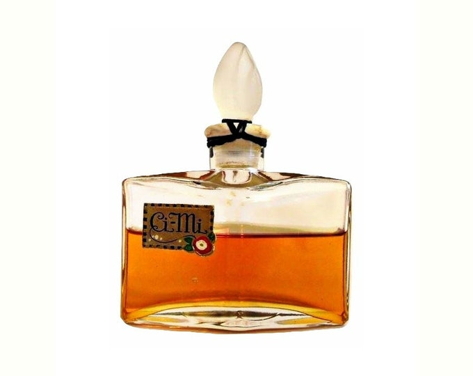 Antique Ci-Mi by Agra Perfume 1920s Art Deco Parfum Bottle with Frosted Glass Stopper