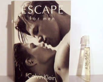 Vintage 1990s Escape for Men by Calvin Klein Sample Vial on Card COLOGNE