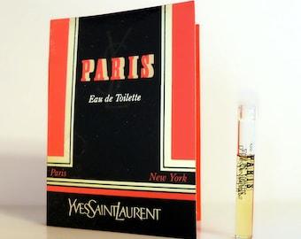 Vintage 1980s Paris by Yves Saint Laurent 0.05 oz Eau de Toilette Sample Vial on Card PERFUME