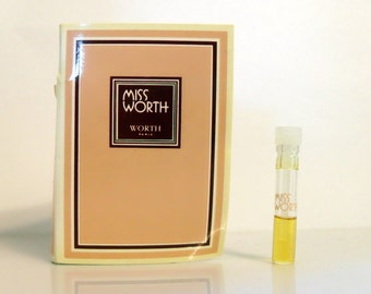 Vintage 1970s Miss Worth by Worth 0.05 oz Parfum Sample Vial on Card PERFUME