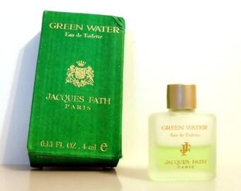 Vintage 1990s Green Water by Jacques Fath 0.13 oz Eau de Toilette Miniature Mini COLOGNE #1
