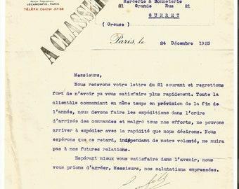 Antique 1923 Gelle Freres Lecaron Fils Signature Parfums Perfume Merchandise Letter Ancien Lettre Parfumerie Ephemera #2