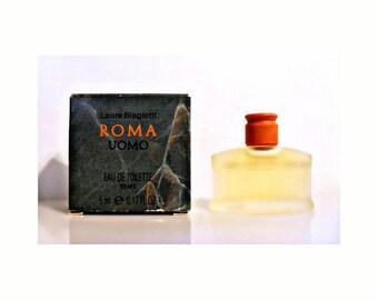 Vintage 1990s Roma Uomo by Laura Biagiotti 0.17 oz Eau de Toilette Mini Miniature COLOGNE