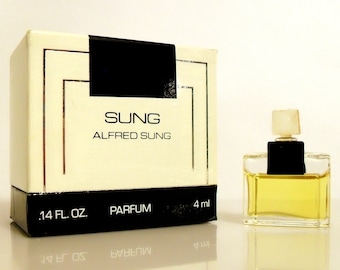 Vintage 1980s Sung by Alfred Sung 0.14 oz Pure Parfum Mini Miniature and Box Perfume