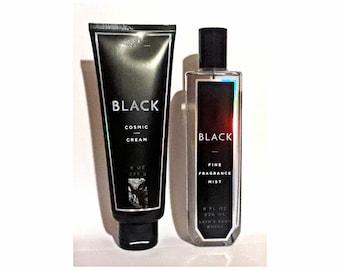 Black by Bath Body Works 8 oz Fine Fragrance Mist Spray and 8 oz Cosmic Body Cream Set PERFUME