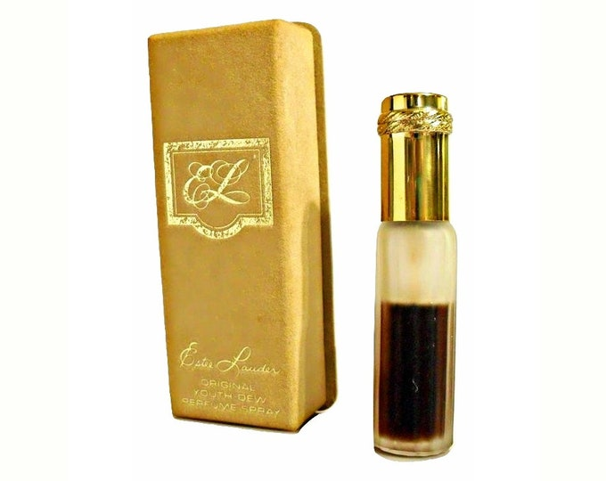 Vintage 1970s Youth Dew by Estee Lauder 3/8 oz (11ml) Pure Parfum Mini Purse Spray and Box PERFUME
