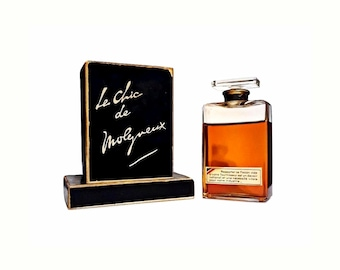 Antique 1930s 1940s Le Chic de Molyneux 2 oz (60ml) Extrait Pure Parfum & Presentation Box Vintage Wartime PERFUME