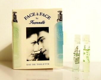 Vintage 1990s Face a Face Femme and Homme by Faconnable Eau de Toilette Sample Vials on Card PERFUME