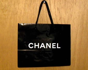 Vintage 1990s Chanel Perfume Promotional Glossy Black Paper Shopping Bag Designer Fragrance Collectible