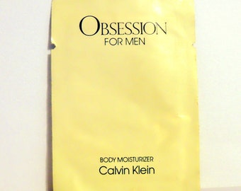 Vintage 1980s Obsession for Men by Calvin Klein Body Moisturizer Sample Packet COLOGNE
