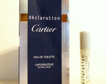 Vintage 1990s Declaration by Cartier 0.06 oz Eau de Toilette Spray Sample Vial on Card PERFUME