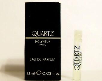 Vintage 1980s Quartz by Molyneux 0.03 oz Eau de Parfum Sample Vial in Box PERFUME
