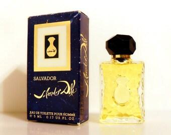 Vintage 1980s Salvador Dali Pour Homme 0.17 oz Eau de Toilette Mini Miniature Cologne and Box