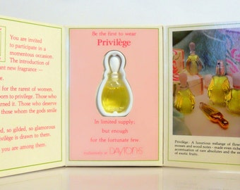 Vintage c1980s Privilege by Parfums Privilege .10 oz Eau de Parfum Miniature Mini on Card PERFUME