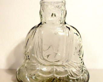 Vintage Perfume 1920s Vantines Figural Buddha Shaped Bath Salts Glass Bottle Missing Stopper