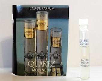 Vintage 1980s Quartz by Molyneux 0.07 oz Eau de Parfum Sample Vial on Card PERFUME