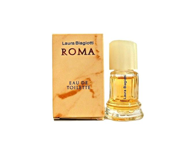 Vintage 1980s Roma by Laura Biagiotti 0.17 oz Eau de Toilette Mini Miniature Perfume and Box