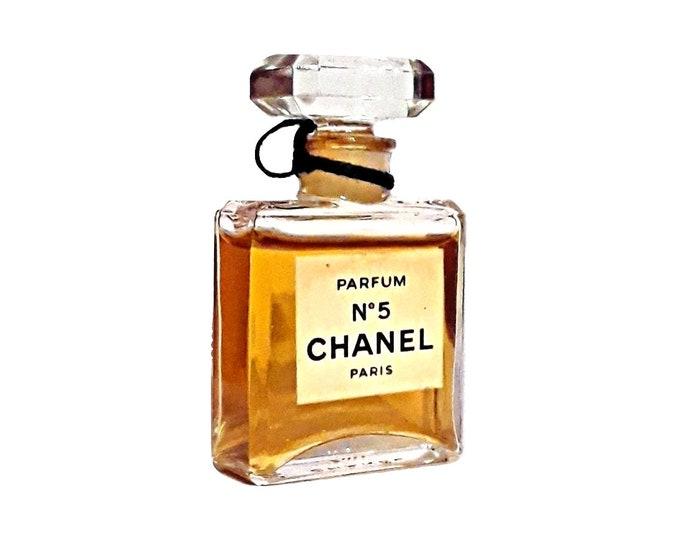 Vintage 1970s Chanel No 5 by Chanel 0.25 oz (7ml) Parfum Splash Mini Perfume Miniature Perfume
